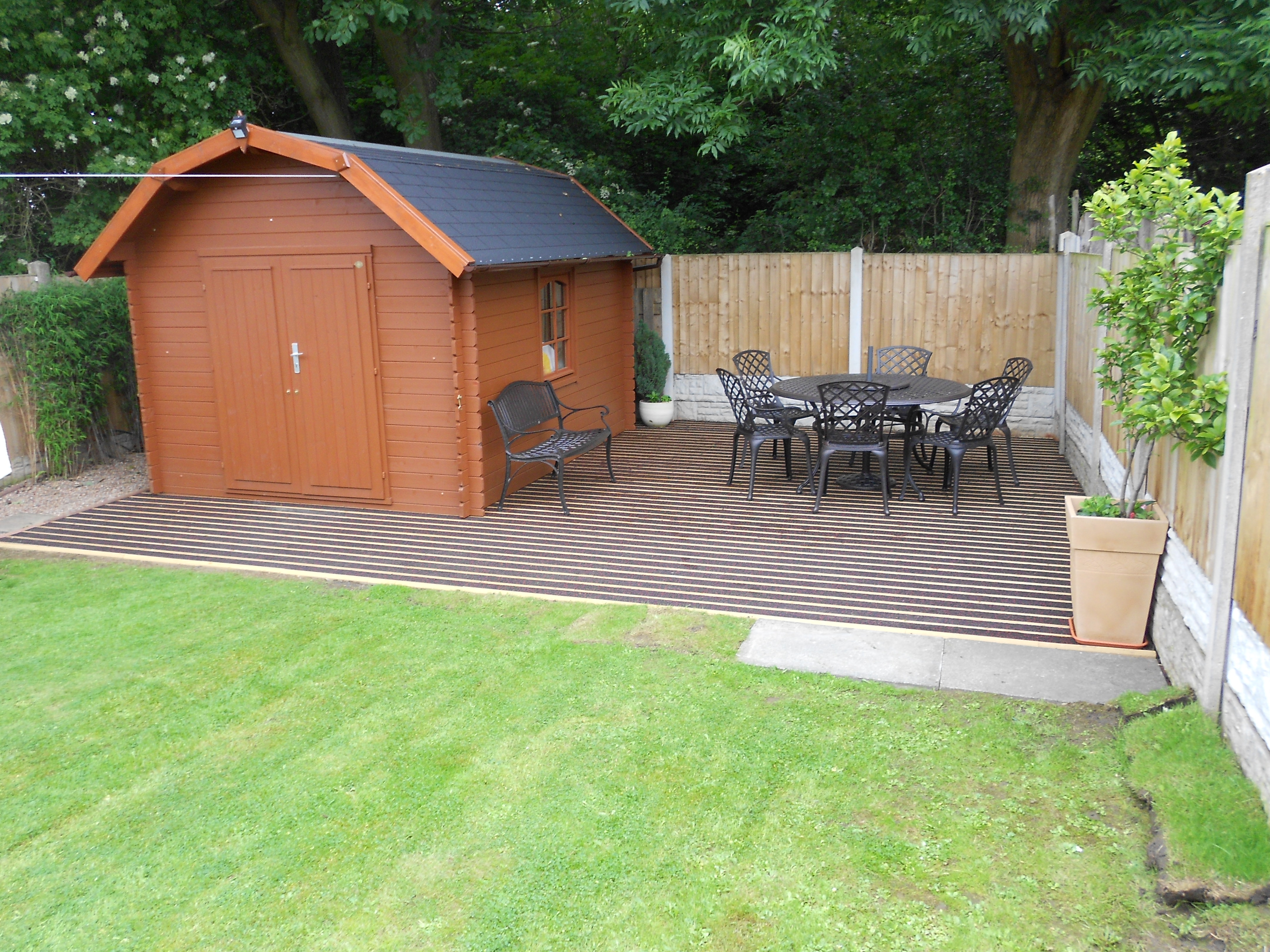 Slip resistant shed deck installation for Garden decking projects